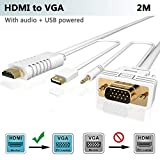 FOINNEX HDMI auf VGA Kabel mit Audio 2M, HDMI zu VGA Adapter Konverter zum Anschluss von PC, Laptop, Xbox 360 One, PS4/PS3,Blu-ray Player,TV-Box zu TV, Monitor, Projektor,1080P …