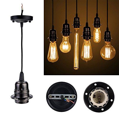 Preisvergleich Produktbild GreenSun Vintage Edison E27 Lampenfassung Antike Sockel Lampe Fassung Halter Zubehör mit 1.35 Meter 3-adriges Kabel Deckenfassung Lampenfuß für Pendelleuchte Hängelampe, Q1