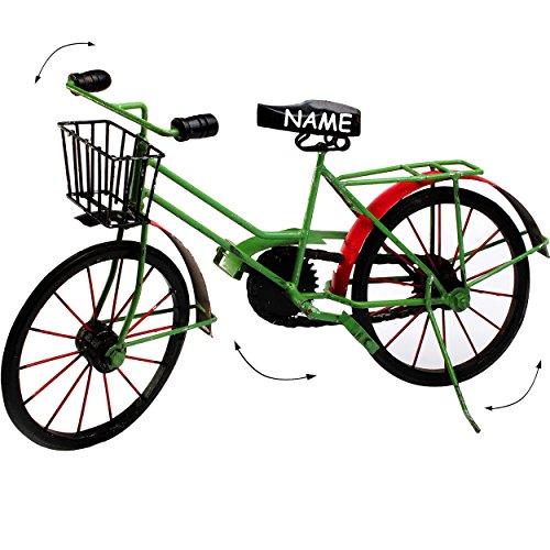 alles-meine.de GmbH XXL großes -  Fahrrad / Bike - E-Bike - mit Korb - grün / schwarz / rot  - incl. Name - 48 cm - aus Metall - Dekofahrrad groß - Innen & Außen - Garten - für..