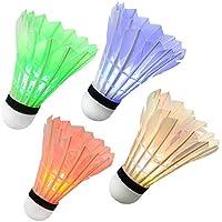 Txyk 4 Stück LED Badminton Bälle, Federbälle Dark Night, Federball Beleuchtung für Outdoor en Indoor Sportsaktivitäten