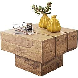 Mesa de Centro Rústica de madera de Acacia cuadrada