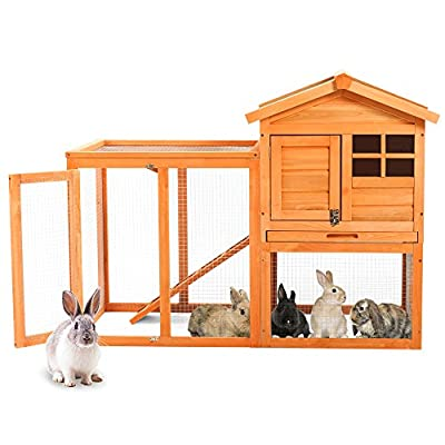 PURLOVE® Wooden Rabbit/Guinea Pig Hutch Pet House Bunny Hutch House Chicken Coops Cages Rabbit Cage