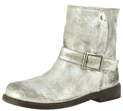 Saint G Women's Metallic Gold Leather Ankle Boots
