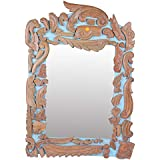 Meher Creation Brown & Sky Blue Color Wooden Hand Carved Square Shape Wall Mirror/Makeup Mirror/Decorative Wall Mirror (Size :- 35 X 24 X 2 Inches)