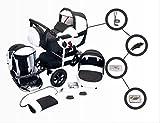 Jackmar | Modell Jacky | Luftreifen in Schwarz | 3 in 1 Kinderwagen Megaset (12 Teile) Schwarz & Weiß