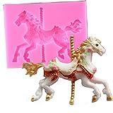 3D Karussell Pferd Form Silikon Fondant Kuchen Formen Küche Kuchen dekorieren Backen Werkzeuge Candy Clay gumpaste Schokolade Formen