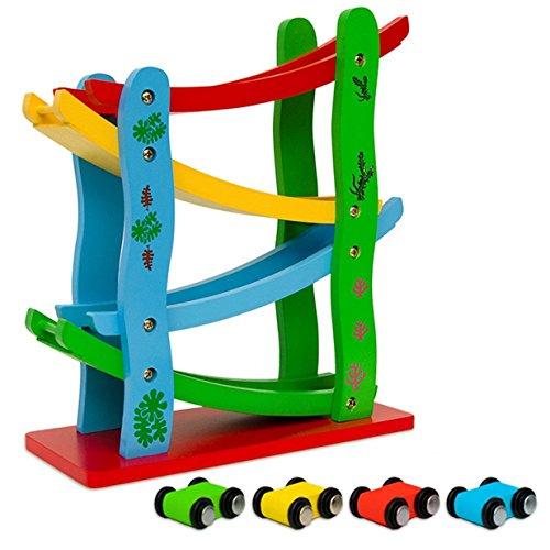 LALANG Véhicule Miniature Rampe de Course Bébé Jouets en Bois Circuit de Course Multicolore