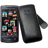 Original Suncase - Samsung 360 H1 - Vodafone 360 H1 - Leder Etui Tasche *Lasche mit Rueckzugfunktion* In der Farbe Schwarz