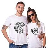 Pärchen T-Shirts Set Shirts für Paar Partner Look Baumwolle Liebhaber Pizza Tshirt (weiß-Herr-L+Dame-S)