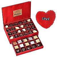 De'Arco Chocolatier Valentines Day Chocolate Gift, Premium Luxury Chocolates, 44pcs + Free Fur Heart