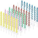 Blulu 60 Pezzi Torta a Spirale Candele Colorate a Strisce a Spirale di Compleanno Candele per Decorazioni Torta Nuziale Compleanno, 6 Colori