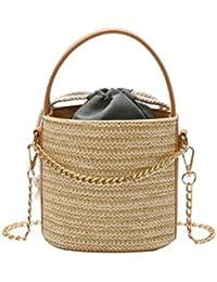 071e3bac7a Abuyall Women s Beach Straw Mini Bag Pu Handle Chains Weave Crossbody Bag  Cute Summer Striped Tote Shopping Fashion Drawstring Handbag…