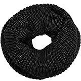 Caspar SC403 Écharpe tube unie unisexe au look vintage - grosses mailles, Couleur:noir, Taille:Taille unique