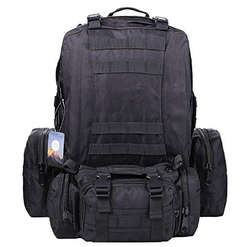 Imagen de ttlife 55l  de senderismo con 3 bolsos desmontables y multifuncional, táctica, militar,molle de viaje para camping negro/camuflaje/kahki/acu  alternativa