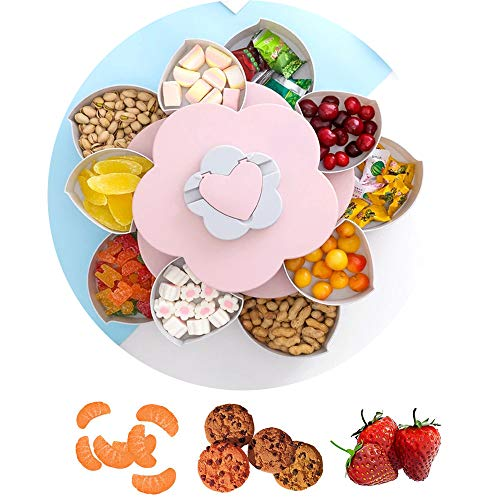 Womdee Snackbox Blume, Rotierende Snackbox, Blumenform Aufbewahrungsbox, Tapasschalen für Süßigkeiten, Kekse, Trockenfrüchte, Obst - 10 Speicherplätze