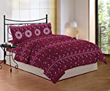 Bombay Dyeing Cynthia 120 TC Polycotton Double Bedsheet with 2 Pillow Covers - Marron