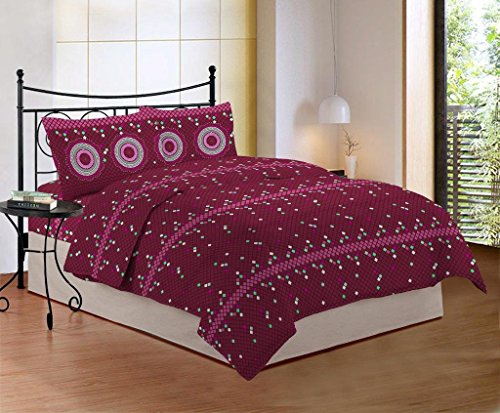 Bombay Dyeing Cynthia 120 TC Polycotton Double Bedsheet with 2 Pillow Covers - Maroon
