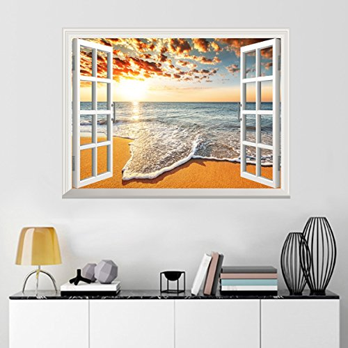 UniqueBella 3D Fotomural Vinilo Decorativo de Ventana Autoadhesivo Pegatina de Pared Extraíble Decoración del Hogar Orto y Playa Vacaciones 61CM * 81CM
