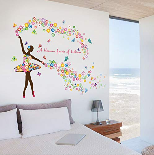 XQWZM Romantic Fairies Girl Butterfly Flowers Wall Stickers for Kids Rooms Girls Bedrooms Children Nursery Wall Art Decal Decoration