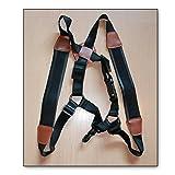 Soundman® tracolla in vera pelle a doppia spalla per sassofono, tracolla bambini breve regolabile e imbottita per sassofono alto tenore (S)