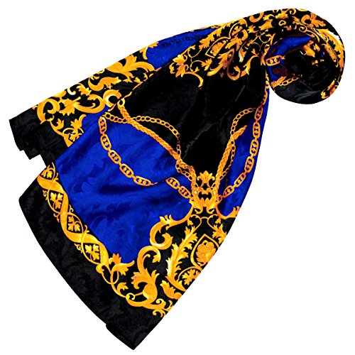 Lorenzo Cana - Luxus Damen Seidentuch Damast 100% Seide gewebt bedruckt 88 cm x 88 cm opulentes Barock Muster in blau gold schwarz Tuch Halstuch 89134