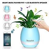 Tecwizz Smart-Musik-Blumentopf mit LEDs–Musik-Pflanzenlampe mit Touch-Funktion und kabellosem Bluetooth-Lautsprecher, Pflanzenklavier, mehrfarbige LEDs, Nachtlicht für Schlafzimmer, Büro, Wohnzimmer
