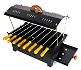 Cuteworld Barbeque Grill   Travel Essentials   Hut Shaped Barbeque with 8 Skewers Charcoal Grill Compact BBQ Black Iron Barbecue