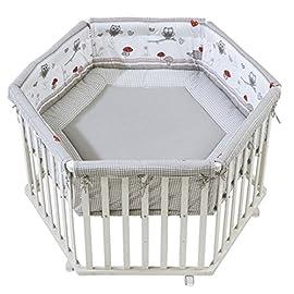 Roba Box Esagonale 'adam & Owl', Box per Giocare in Sicurezza Incluso Paracolpi e Ruote, Legno Laccato Bianco
