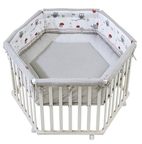 Roba Box Esagonale 'adam & Owl', Box per Giocare in Sicurezza Incluso Paracolpi e Ruote