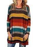 Yidarton Damen Pullover Oversized Langarmshirt Gestreifte T-Shirt Casual Tunika Oberteile Tops (Gelb, S)