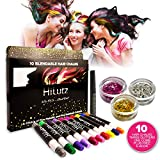 Hilytz Hair Chalk Pens for Kids Girls and Boys - Metallic Glitter Temporary Hair Colour Pens - Non-Toxic Washable w/ 3 Glitters & EBook Great for Party Halloween Birthday Present Christmas