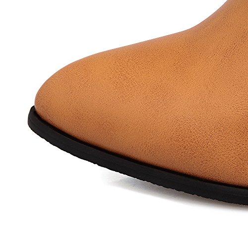 VogueZone009 Donna Cerniera Luccichio Scarpe A Punta Tacco Medio Stivali Giallo