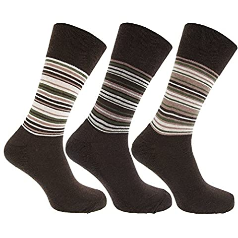 Mens Striped Cotton Rich Non Elastic Light Hold Socks With Terry Cushioning (Pack Of 3) (UK Shoe 6-11, EUR 39-45) (Brown/Green)