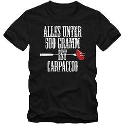 Grillen Carpaccio T-Shirt Holzfeuer Herren Barbecue Saison Sommer Fleisch BBQ-Smoker, Farbe:Schwarz (Deep Black L190);Größe:M