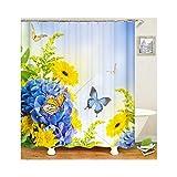 Daesar Badvorhang Anti-Schimmel Blume Schmetterling Badezimmer Duschvorhang aus Polyester-Stoff 180x200 cm