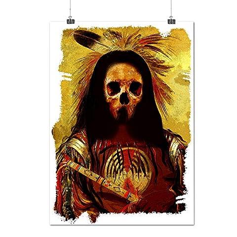 Schädel indisch Krieger Kostüm Mattes/Glänzende Plakat A3 (42cm x 30cm)   Wellcoda (Clown Kostüme Ziel)