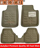 #2: Autofact Beige 3D / 4D Car Foot Mats For Renaults Duster (Complete Set)