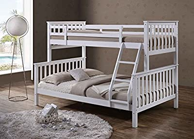 'Oscar' White Solid Pine Wood Triple Sleeper Bunk Bed- Single & Double by 'Sleep Design' - low-cost UK light shop.