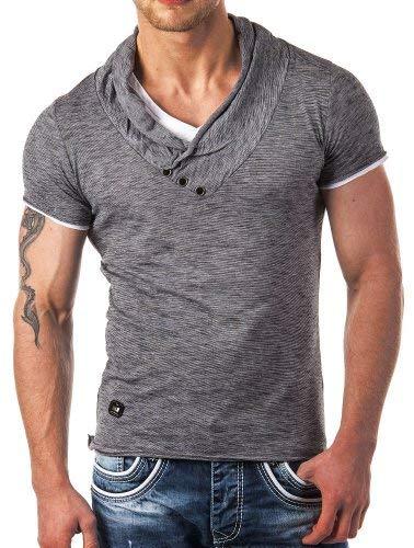 Redbridge by Cipo & Baxx Herren T-Shirt Super Slim Fit Designer Freizeitshirt Baumwolle V-Ausschnitt Melange R-4T1223 (XXL, Anthrazit)