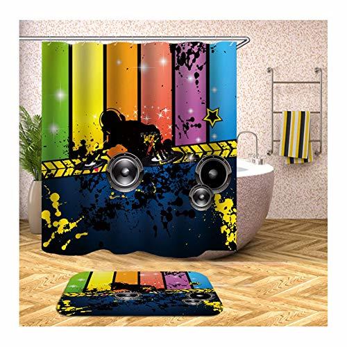 Epinki Duschvorhang & Badezimmerteppich Set Waschbar aus Polyester 3D Digitaldruck Karikatur Muster Badewanne Vorhang Bad Teppich Bunt mit 12 Duschvorhangringen für Badezimmer - 150x180CM - Thymian Dusche
