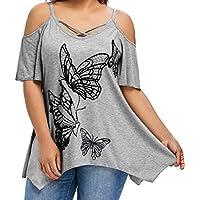 CICIYONER Verano de Manga Hombro, Camiseta con Estampado de Mariposa Blusa con Manga Corta