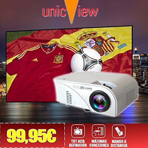 proyector barato Unicview SG100 con TDT, USB, HDMI, VGA, AC3, 2 años...