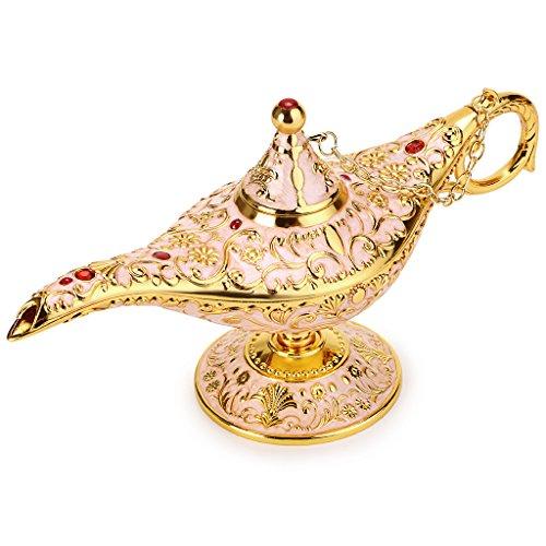 BTSKY Klassische Luxuslampe im magischen Aladdin-Design mit Geschenkbox, exquisitem Retro-Aladdin-Licht, Wunderlampe, Heimtextilien, Tischdeko, Kunsthandwerk, beige