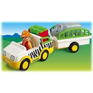 Playmobil - 6743 - Jeu de construction - Gardien de zoo / véhicule / rhinocéros