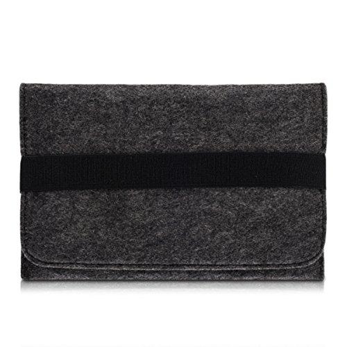 kwmobile Custodia in Feltro per Tablet 7' - con 2 Tasche Interne e Banda Elastica - Astuccio Universale Porta Tablet 20,5 x 14 cm - Grigio Scuro