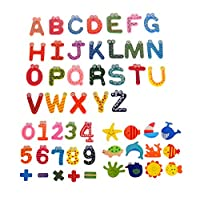 Comfysail 53Pcs Refrigerator Magnets Stickers;24pcs A-Z Alphabet Letter;15pcs Numbers;12pcs Cartoon;Colorful Wooden Fridge Magnets Kid toys Education