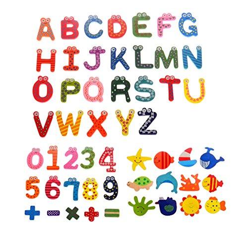 Comfysail 53PCS Hölzern Kühlschrank Magnete Aufkleber(24PCS A-Z Buchstabe 15PCS Nummern 12PCS Meeresboden Tiere) für Kinder Educational Toy Home Dekoration Kühlschrank-magnete Buchstaben