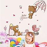 ufengke® Niedlichen Baby Bären und Blumen Dach Wandsticker, Kinderzimmer Babyzimmer Entfernbare Wandtattoos Wandbilder