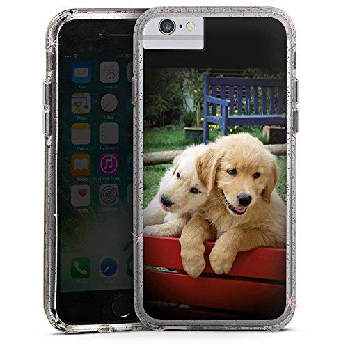 Apple iPhone 7 Plus Bumper Hülle Bumper Case Glitzer Hülle Golden Retriever Welpen Chien Bumper Case Glitzer rose gold