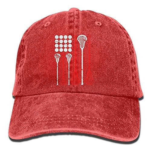 Sdltkhy Unisex Adjustable Denim Fabric Baseball Cap USA Lacrosse American Flag Cap ()